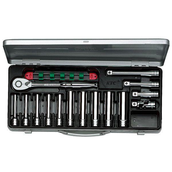 【KTC工具】 12.7sq ディープソケットセット(メタルケース付き) 6角 12角 15点 / TB4L10X 送料無料