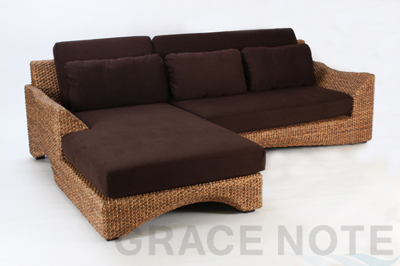 GRACE NOTE  ディベッドソファセット(波型)-A WS26-SET-A ウォーターヒヤシンス ソファ ベッド バリ 家具 グレイスノート