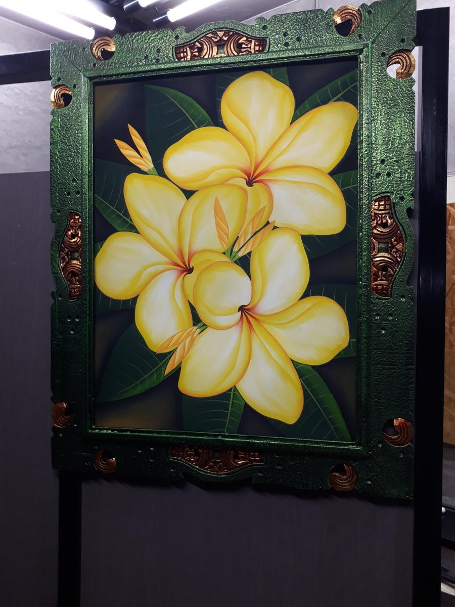 木製 額付き バリ絵画 大(C)フラワー インテリア フラワー アクリル画 アジアン バリ 雑貨 バリの絵
