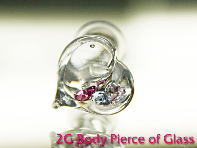 2Gガラスのボディピアス手作り1点もの制作品 新作 最新アイテム ボディピアス ボディピアス☆ガラスのハートボディピアス2G:6ミリサイズ カワイイ レビューを書けば送料当店負担