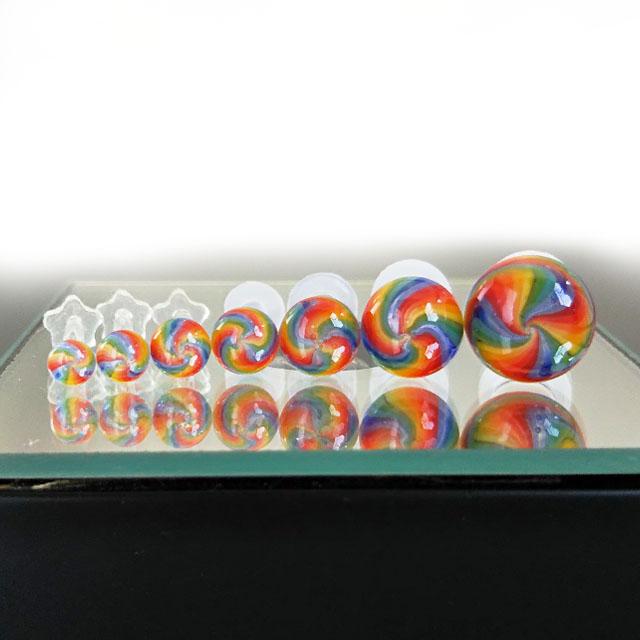 繊細華麗な手作り 信憑 ガラスボディピアス 直営店 6G ボディピアス レインボーガラス