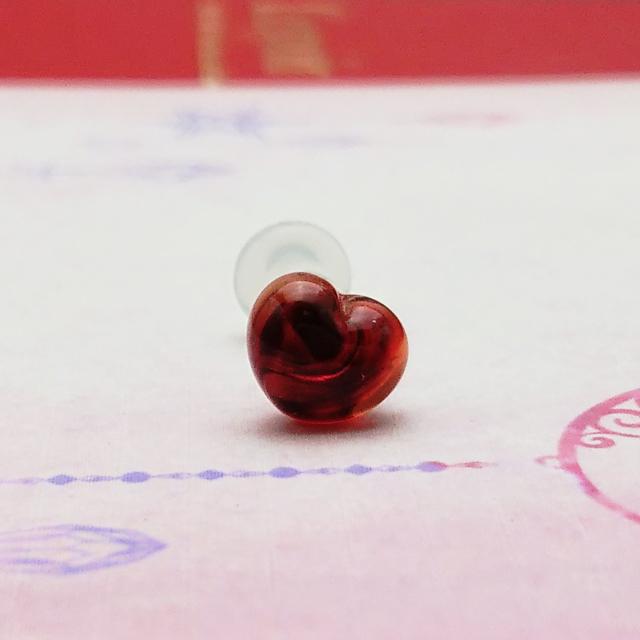 結婚祝い カラータイプガラスのボディピアス ボディピアス ギフト カラーパイレックスガラス ガラスボディピアス☆ハート8G:3ミリサイズ