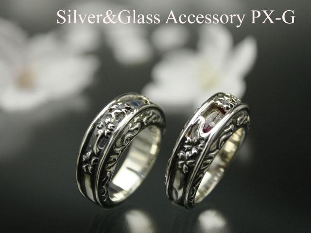 桜と和柄文様をデザインレリーフ彫刻を繊細に施した作り PX-G メーカー直送 Silver Ring 龍桜 シルバーガラスアクセサリー 予約販売品 リング龍桜