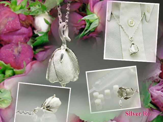 Aroma pendant Silver Rose silver accessories アロマネックレス diffuser silver rose