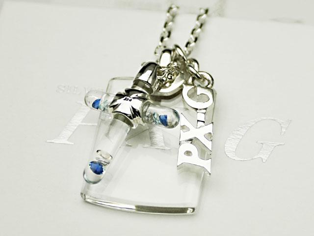 PX-G Silver Mini Cross Glass Tag Pendant シルバーガラスアクセサリー ミニクロスグラスタグペンダント