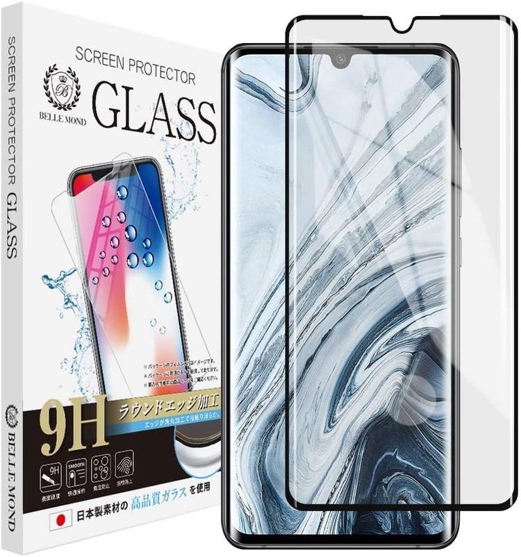 Xiaomi Mi Note 10 ブラック 新品未使用正規品 透明 ガラスフィルム 国産品 高透過 表面硬度9H スムースタッチ BELLEMOND 気泡防止 指紋防止 貼り付け失敗時 無料再送 775 飛散防止 ベルモンド CLBK