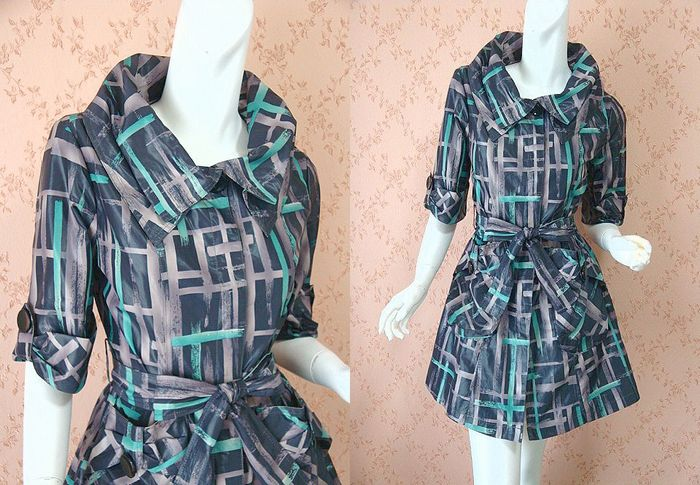 Design of large tate襟 very nice Plaid 5-sleeve spring coat. ★