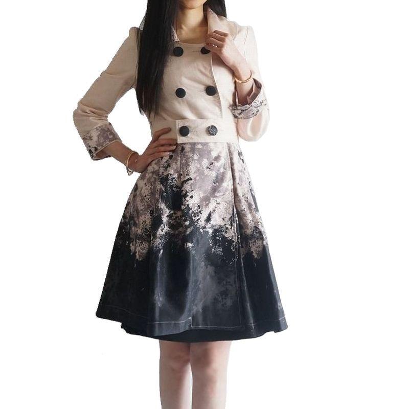 スプリングコート レディース コート 春アウター 春コート 襟の取り外し可能な優雅なグラデーションプリント七分袖スプリングコート スプリングコート ミディアム ピンクベージュ