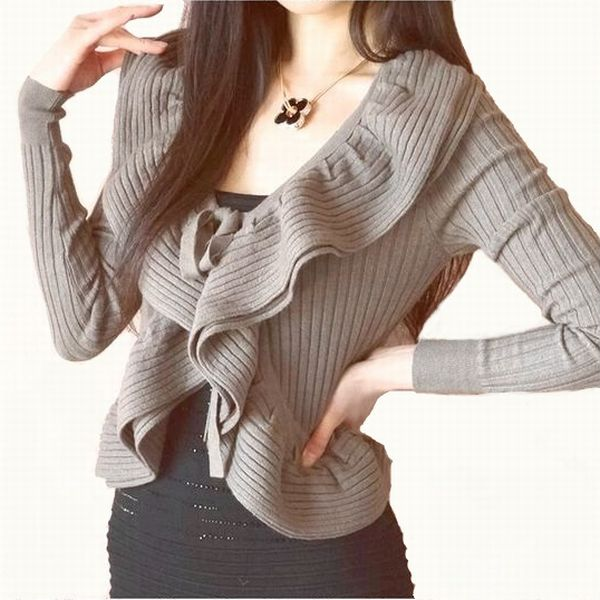 cc6a1520c A nice double-ruffle feminine smooth knit jacket ♪ Cardigan Bolero high  quality smooth! Fluffy moist with soft ♪ comfortable ♪ autumn winter long  sleeve ...