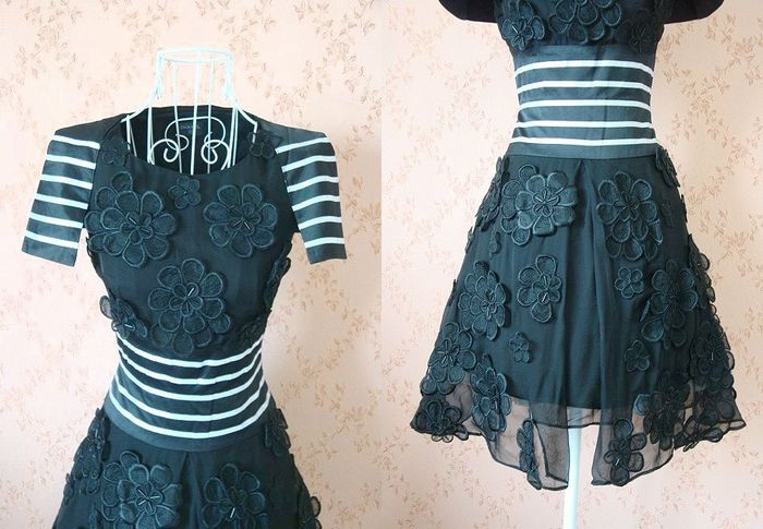 70% Off ★ gorgeous fully floating a beautiful embroidery flower silk dress (dresses party dress and borderline and flower and flower and embroidery and beads, black, SILK and silk and party dress, white)