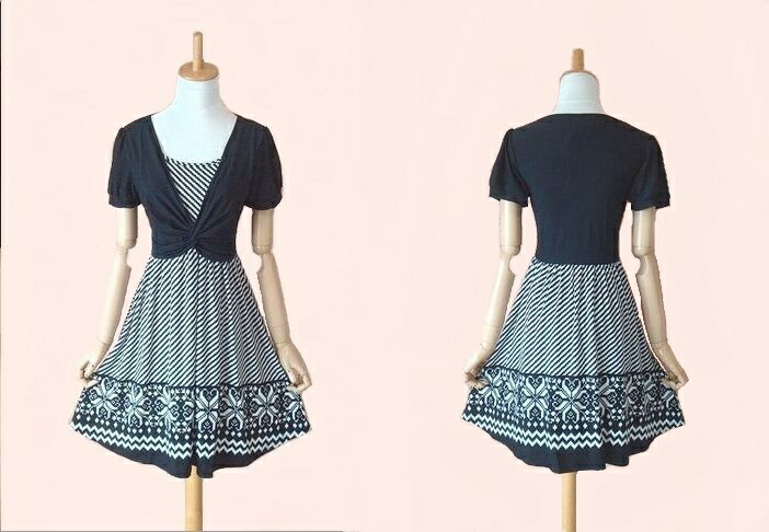 Print is a nice skirt flower stretch flare short sleeve one piece