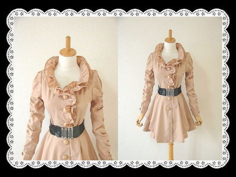 Two-point set with belt wire 2 frills cute gathered sleeves outer spring one piece ★