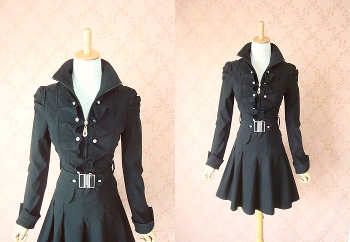 The frill collar that extreme popularity ★ silhouette is beautiful is excellent at wonderful pleats one piece ♪ looking thinner effect!
