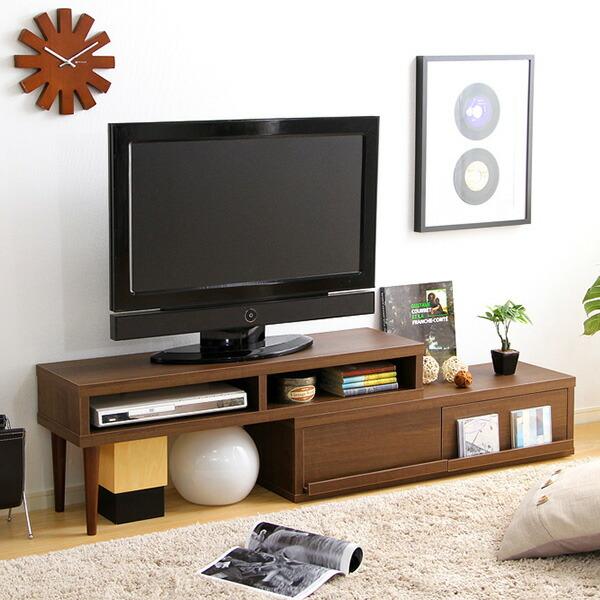 完成品伸縮式テレビ台 アール-EARL (コーナーTV台・ローボード・リビング収納)