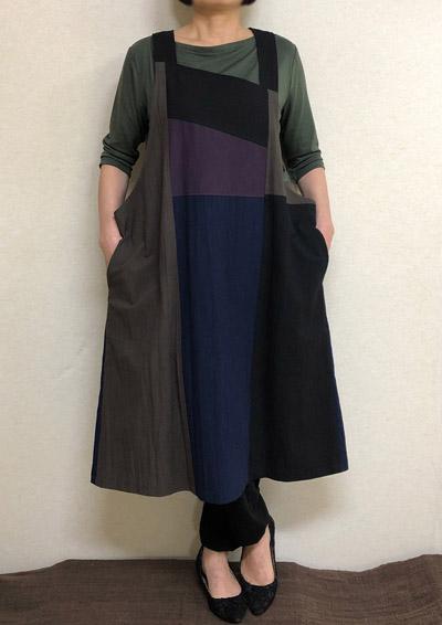【大きいサイズ/日本製/手作り/送料無料】継ぎはぎジャンパースカート1着限定 綿100% ゆったりサイズ40代.50代.60代.70代/個性派 シニア ミセス レディースファッション
