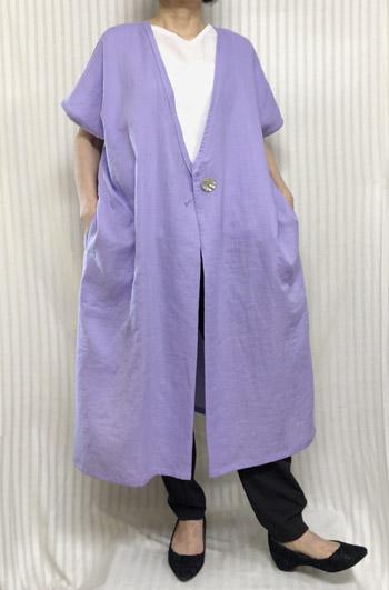 【大きいサイズ/日本製/手作り/送料無料】ロングガーゼベスト 羽織りジャケット 1着限定 綿100% ゆったりサイズ40代.50代.60代.70代/個性派 シニア ミセス レディースファッション