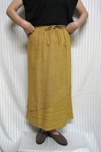 オリジナル 送料無料 ロングセミタイトスカート斜め切り替え 黄色系 綿100%30代.40代.50代.60代.70代 引き出物 個性派シニア レディースファッション ミセス
