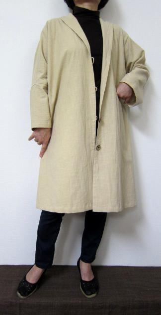 【大きいサイズ/日本製/オーダーメイド/個性的/送料無料】重ね着用一重ヘチマ衿コート 日向 全11色綿100%/ゆったりサイズ40代.50代.60代.70代 個性派 シニア ミセス レディースファッション