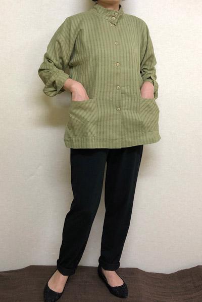 送料無料 日除けの立ち衿 透かし織りジャケットグリーン 綿100% テレビで話題 大きいサイズ 格安 価格でご提供いたします ミセス シニア レディースファッション 40代.50代.60代.70代個性派