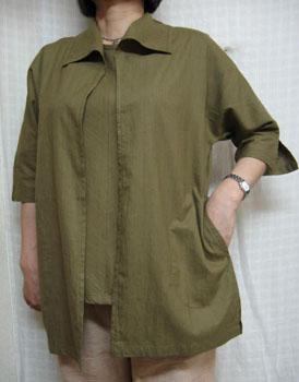 送料無料 楽に羽織れる涼しい夏ジャケットカーキ 新品未使用 綿100% 大きいサイズ40代.50代.60代.70代 商い レディースファッション ミセス 個性派シニア