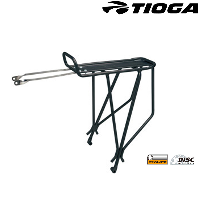 リアキャリア 国内在庫 MTB ロードバイク クロスバイク タイオガ Rear Tubular Carrier w disc ブレーキ対応型 ディスク あす楽 mounts 送料無料 卓越 土日祝も営業 ブラック TIOGA リアチューブラーキャリアー