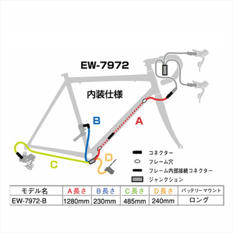 SHIMANO DURA-ACE Di2 (シマノデュラエースDi2) EW-7972 B Junction B (ジャンクションB) 一部内装仕様 1280mm [IEW7972B][消耗品・ワイヤー類][シフトワイヤー]