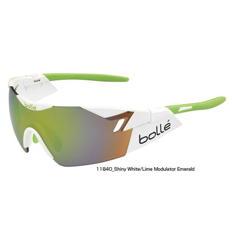 【紫外線対策】bolle(ボレー) 6TH SENSE SHINY WHITE/LIME MODULATOR GREEN EMERALD 11840[アイウェア][サングラス][調光レンズ]【スポーツサングラス】