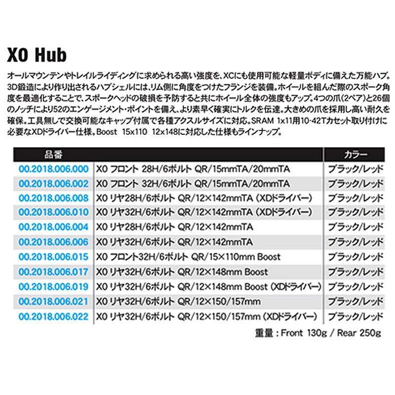 SRAM X0(スラム X0) フロントハブ QR/15mmTA/20mmTA[ハブ][マウンテンバイク用]
