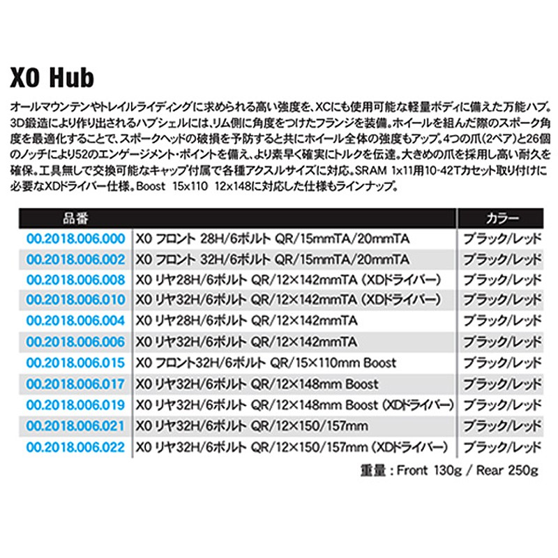 SRAM X0(スラム X0) リヤハブ QR/12x150/157mm Boost[ハブ][マウンテンバイク用]