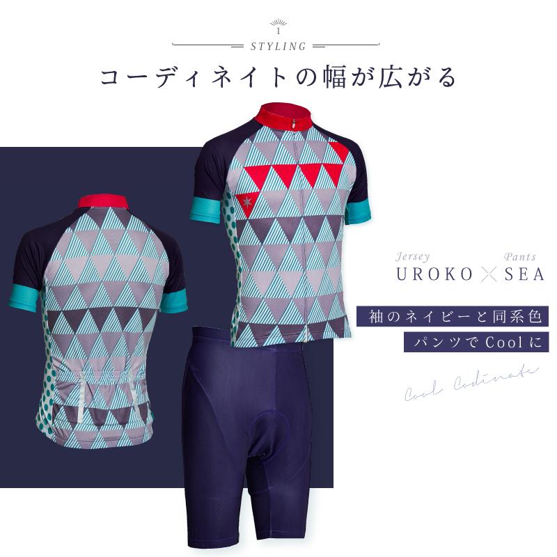 《即納》【あす楽】【25日ポイント15倍キャンペーン実施】【UROKO x SEA】袖のネイビーと同系色パンツでCOOLに!BIKOT(ビコット)半袖ジャージ パンツ上下セット おすすめ サイクルウェア 和柄 メンズ レディース