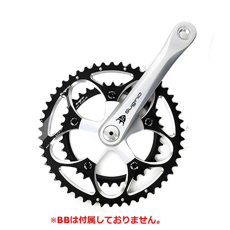 SUGINO(スギノ) MIGHTY TOUR 901D (マイティーツアー901D) シルバー/ブラック BB別売[クランクセット][クランク・チェーンホイール]