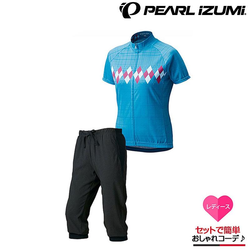 【コーディネートG022】PEARL IZUMI(パールイズミ) プリントジャージW334-B・カプリパンツW248-3DNPセットサイクル[半袖][ジャージ・トップス]
