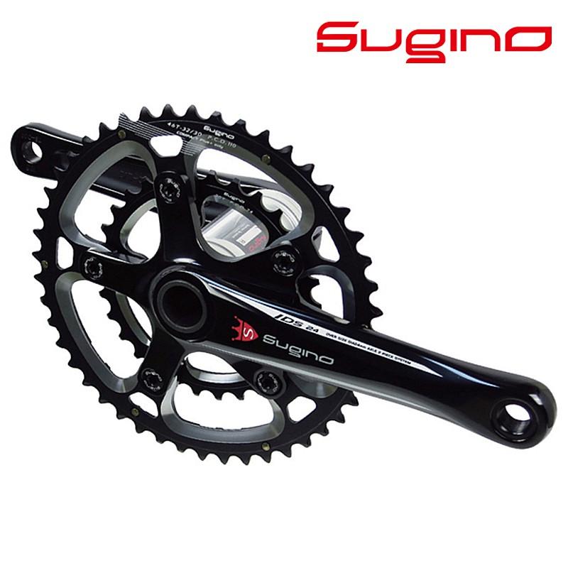 SUGINO(スギノ) OX2-901D Compact+ Classic (クラシックロゴ) ブラック BB別売/シマノ10-11S[クランクセット][クランク・チェーンホイール]