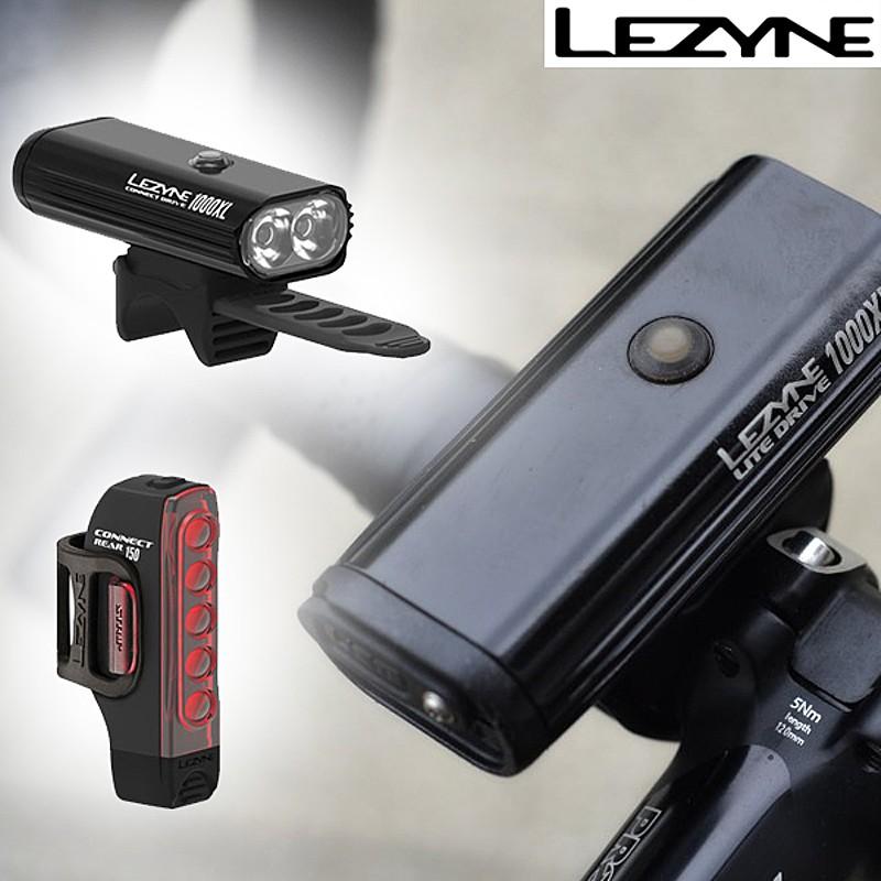 《即納》LEZYNE(レザイン) CONNECT DRIVE/STRIP PAIR(コネクトドライブ/ストリップペア)フロント・リア 前後LEDセット 充電式 1000ルーメン150ルーメン [ヘッドライト] [ロードバイク]