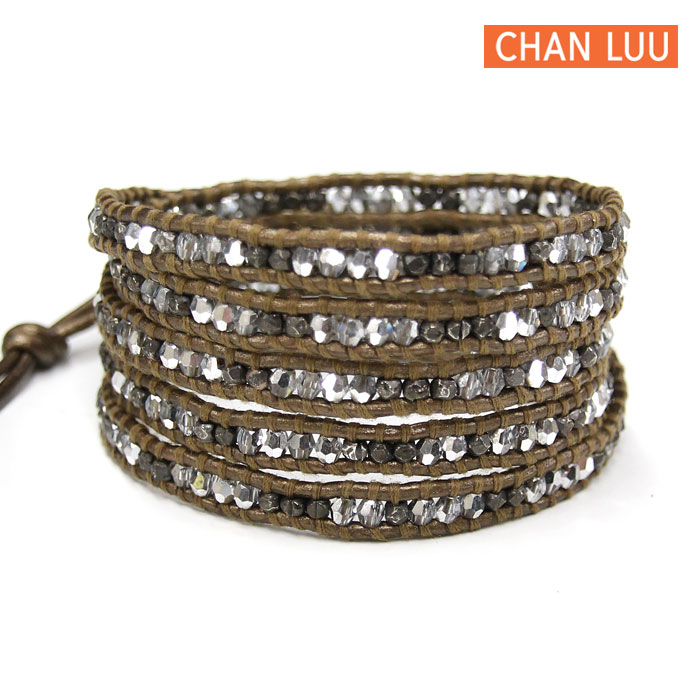 CHAN LUU チャンルー 5連ラップブレスレット クリスタル×ガンメタ×ブラウンレザー BS-2490
