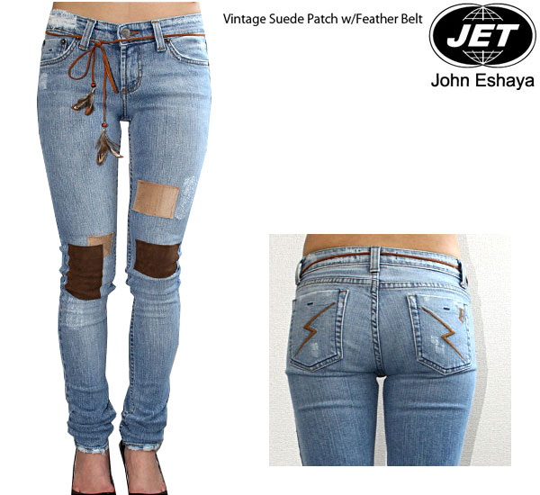 JET by John Eshaya喷气VINTAGE SUEDE PATCHスウェードパッチワークジーンズデニムVPSJ