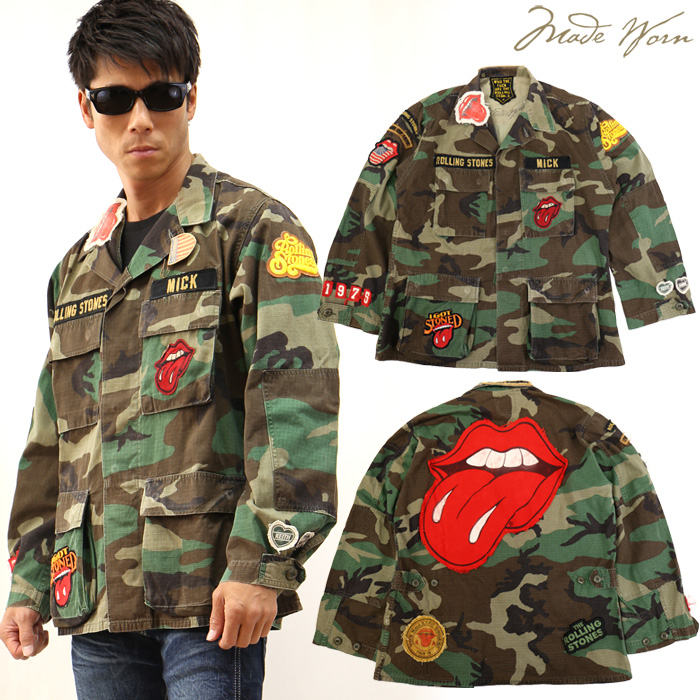MADE WORN ROLLING STONES CUSTOM CAMOUFLAGE MILITARY JACKET ミリタリージャケット シャツ mwrs1215j