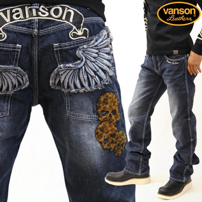 VANSON バンソン デニムジーンズ パンツ ボトムス ウイング スカル 豹柄 刺繍 sp-b-3