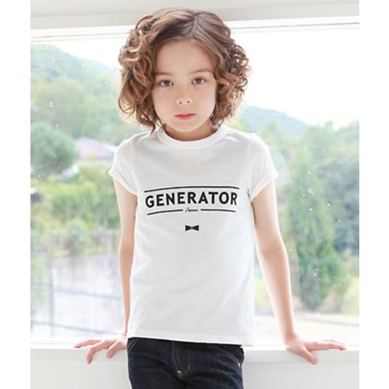 WEB限定 日本製 子供服ジェネレーター 子供服 ジェネレーター generator GENERATORロゴ レディースサイズ 日本全国 送料無料 メンズサイズ T-SHIRTS ホワイト プリントTシャツ 50%OFF