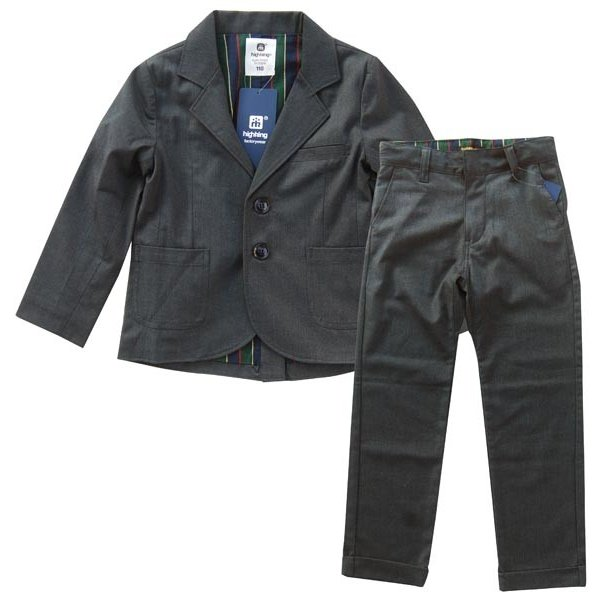 highking  ハイキング 子供服 inherit jacket suit(フォーマルジャケットスーツ)(チャコール)上下セット (130cm/140cm/150cm)