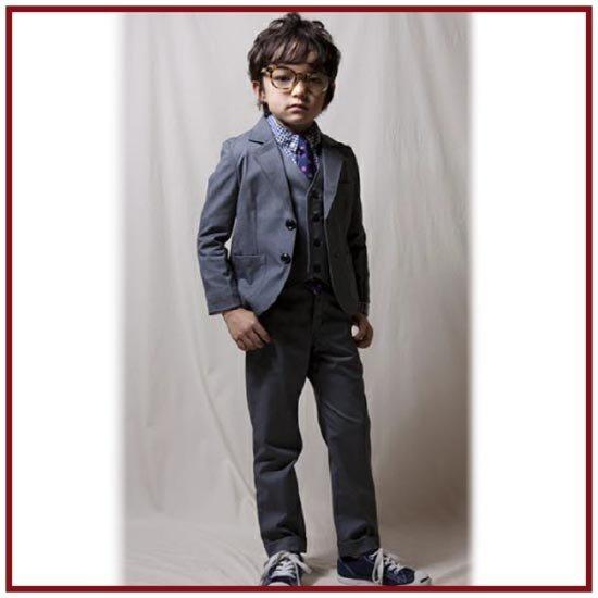 highking  ハイキング 子供服 inherit jacket suit(フォーマルジャケットスーツ)(グレー)上下セット (130cm/140cm/150cm)