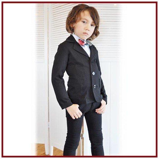 PARTY TICKET パーティーチケット 子供服(フォーマル) カットソーテーラードジャケットスーツ(ブラック)[上下セット] (150cm/160cm)日本製 卒業式 男の子