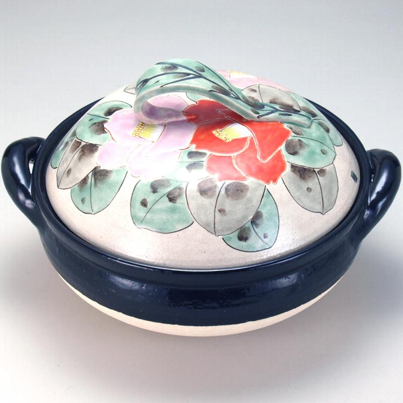 九谷焼と伊賀焼のコラボレーション! ヘルシー蒸し鍋 10号 色椿 陶製すのこ付 30.5×36×21.5cm inn153-06