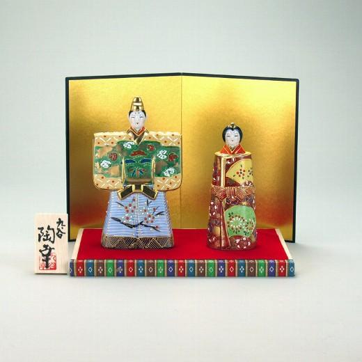 九谷焼 立雛人形 5.5号 緑彩 台・敷物・屏風・木札付 5.5×10×17cm 化粧箱