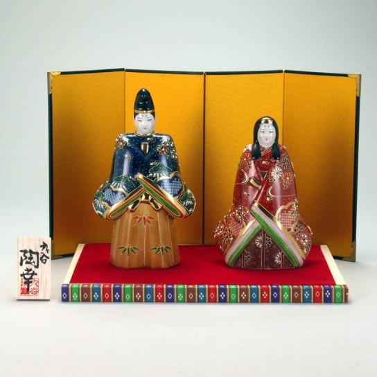 九谷焼 立雛人形 6.5号 鹿の子盛 台・敷物・屏風・木札付 7×15×25cm 化粧箱
