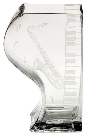 ミュージック サンドブラストガラス花器 ペアベース サックス 44S037 <ギフト プレゼント 誕生日 父の日 敬老の日 母の日 退職祝い 新築祝い>