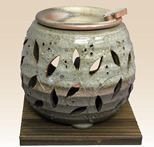 常滑焼 石龍窯 茶香炉 タデ花 焼杉板付 サイズ 11×11cm
