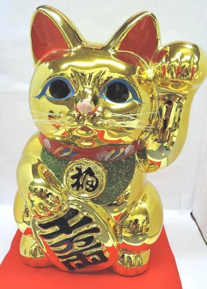 常滑焼 招き猫 梅月 黄金小判猫(左手)座ぶとん付 8号高さ:24cm<左手を上げる猫はお客を招く! 千客万来>