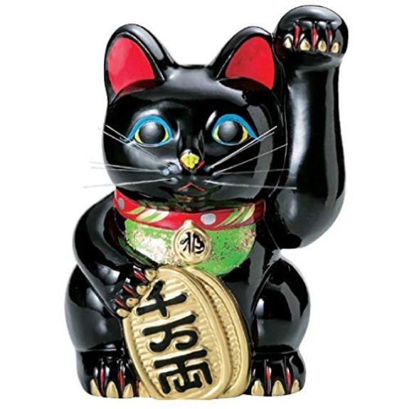 常滑焼 招き猫 美園 黒手長小判猫(左手) 8号 高さ:28cm<左手を上げる猫はお客を招く!千客万来>