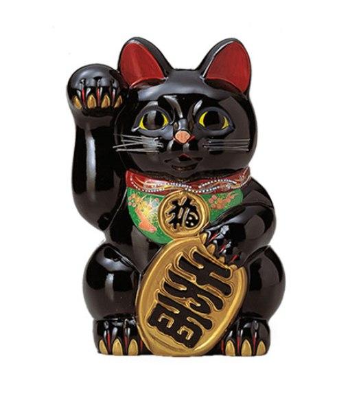 招き猫:貯金箱:黒小判付招猫(右手)10号
